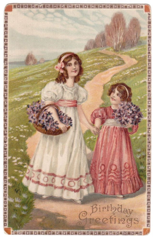 1910 EMBOSSED ANTIQUE BIRTHDAY GREETING VICTORIAN GIRLS WINDING PATH FLOWERS POSTCARD