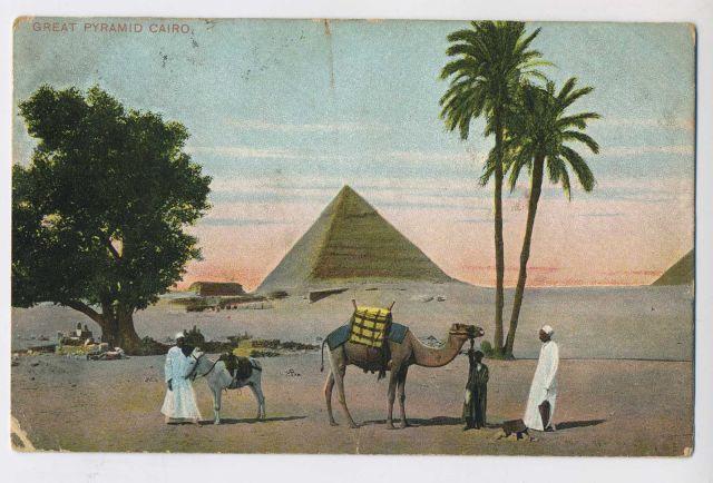 Postcard  - Egypt The Great Pyramid Cairo Old Postcard 1910
