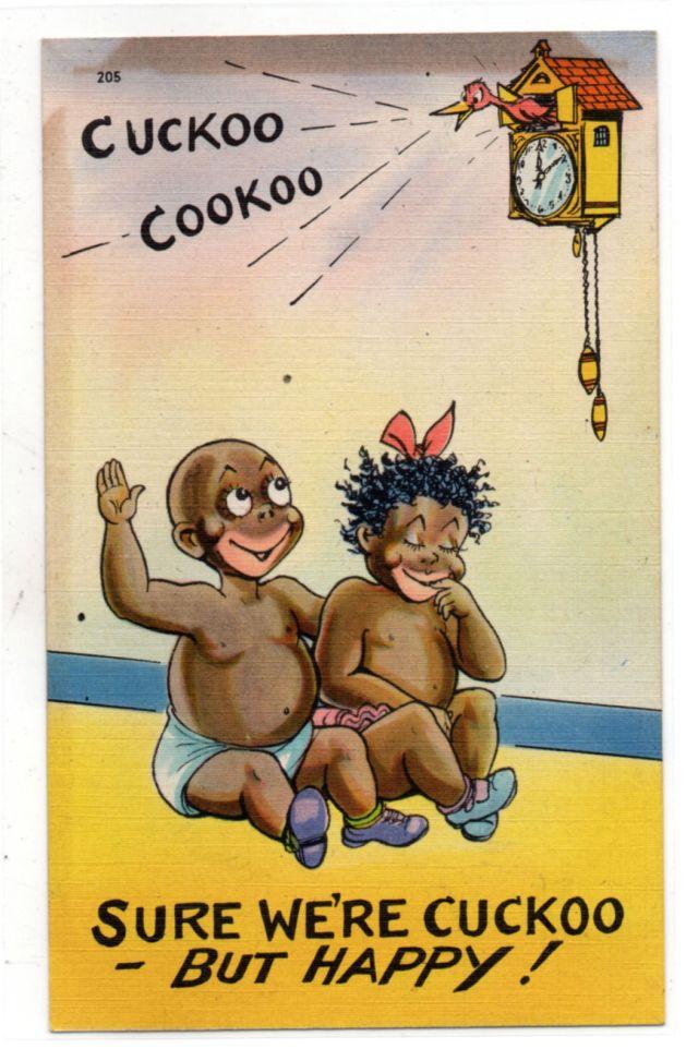 Sure We're Cuckoo But Happy vintage postcard  Black Americana